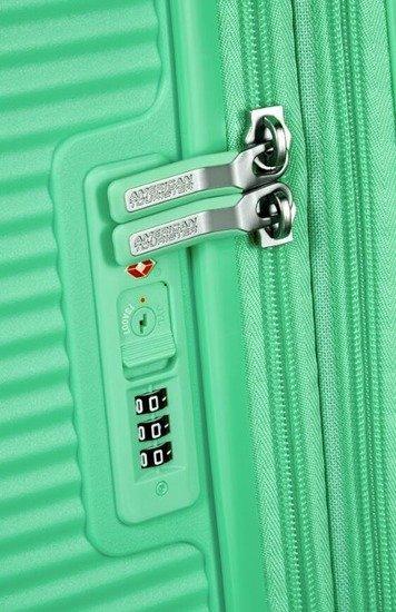 Walizka kabinowa American Tourister Soundbox 55 cm powiększana zielona